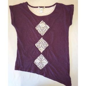 Threads 4 Thought Crocheted Sequin T Shirt Size M
